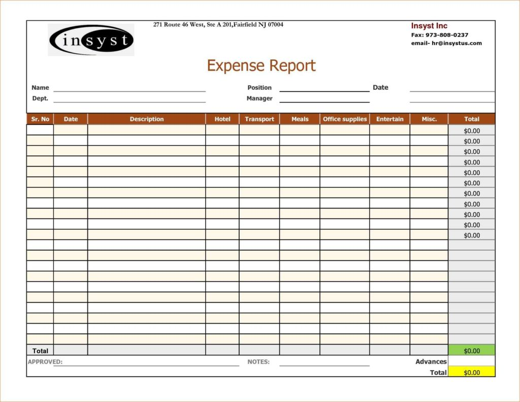 Expense Report Template Excel 2010 and 7 Expense Report Template Excelreport Template Document Report