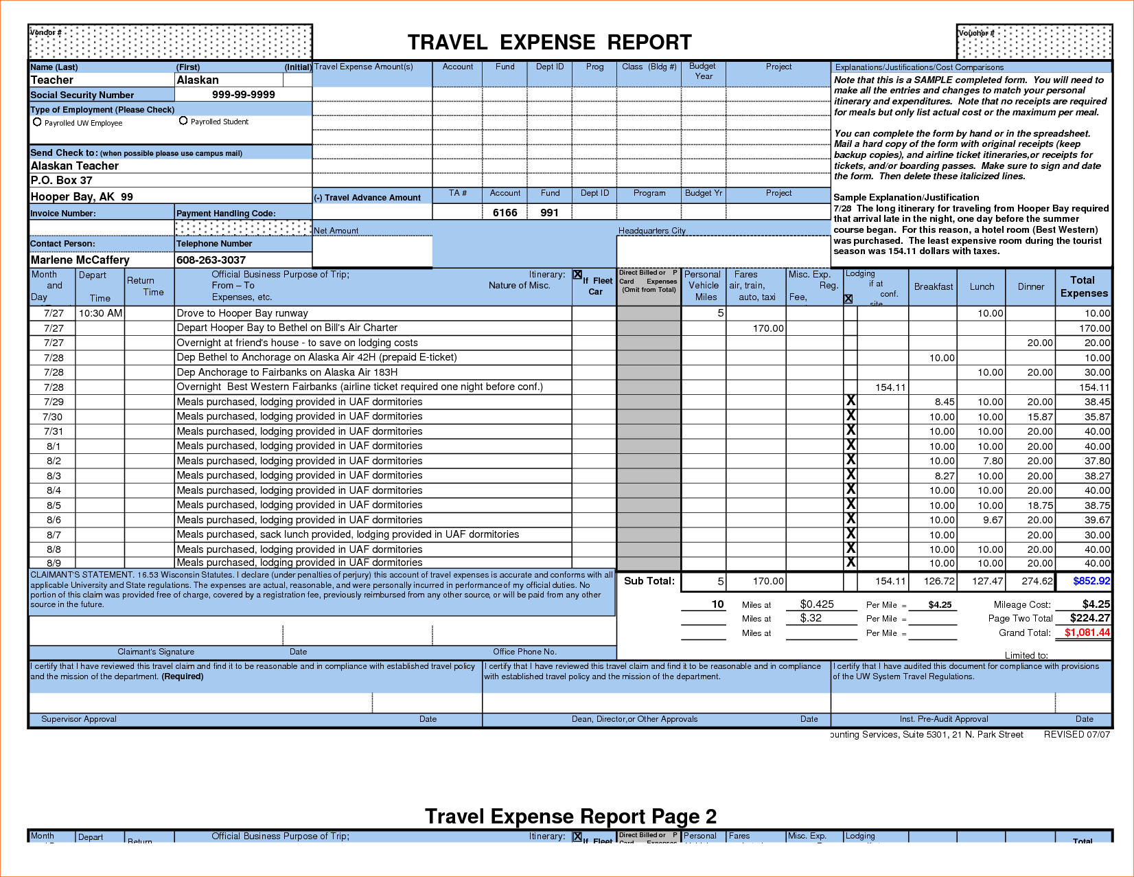 Expense Reports Templates and 7 Travel Expense Report Template Procedure Template Sample