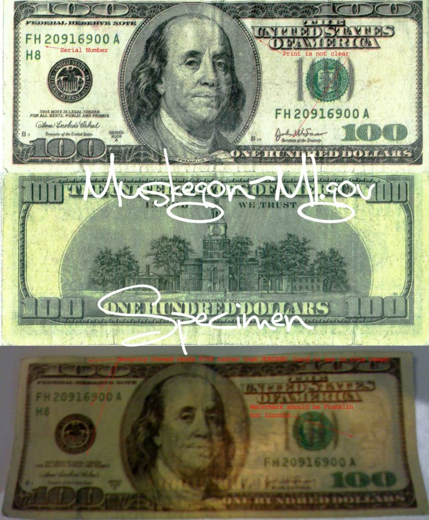 Fake 100 Dollar Bill Template and Counterfeit 100 Bill Warning