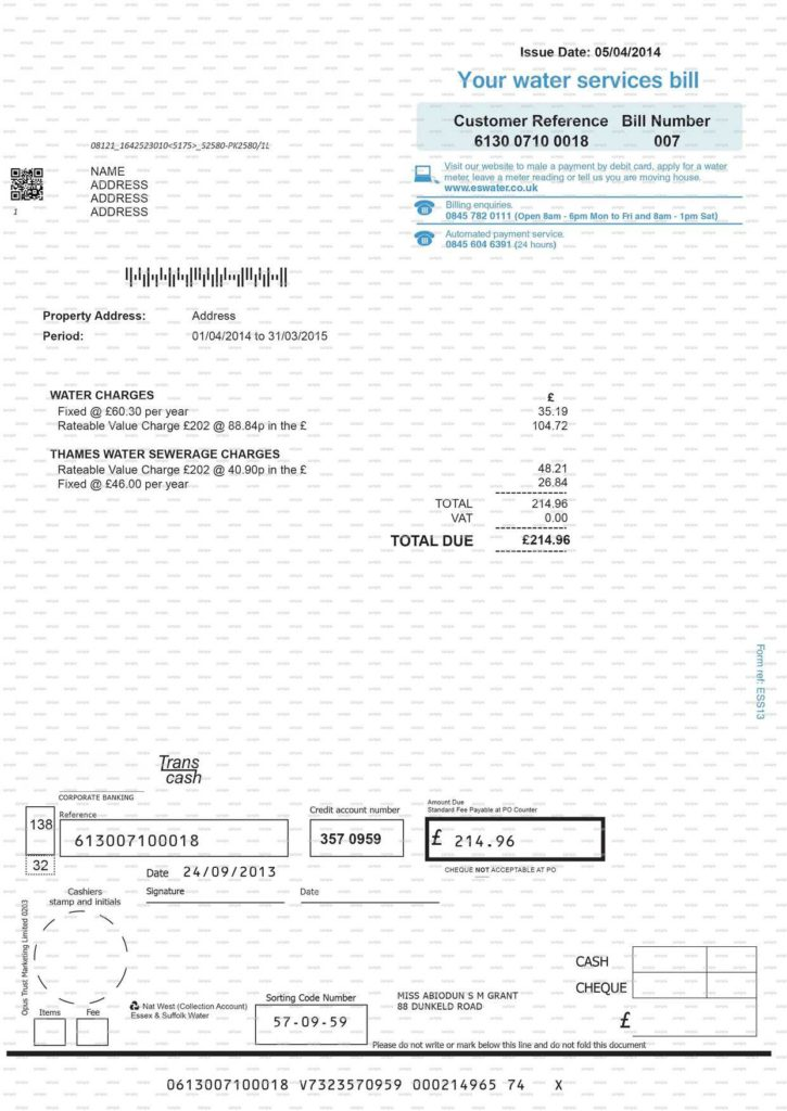Fake Utility Bill Template Download and Utility Bill Template Contegri