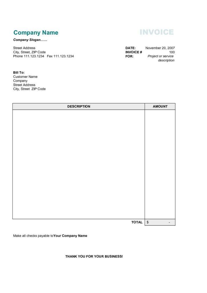 Fill In Invoice Template and Simple Invoice Template Free Invoice Example