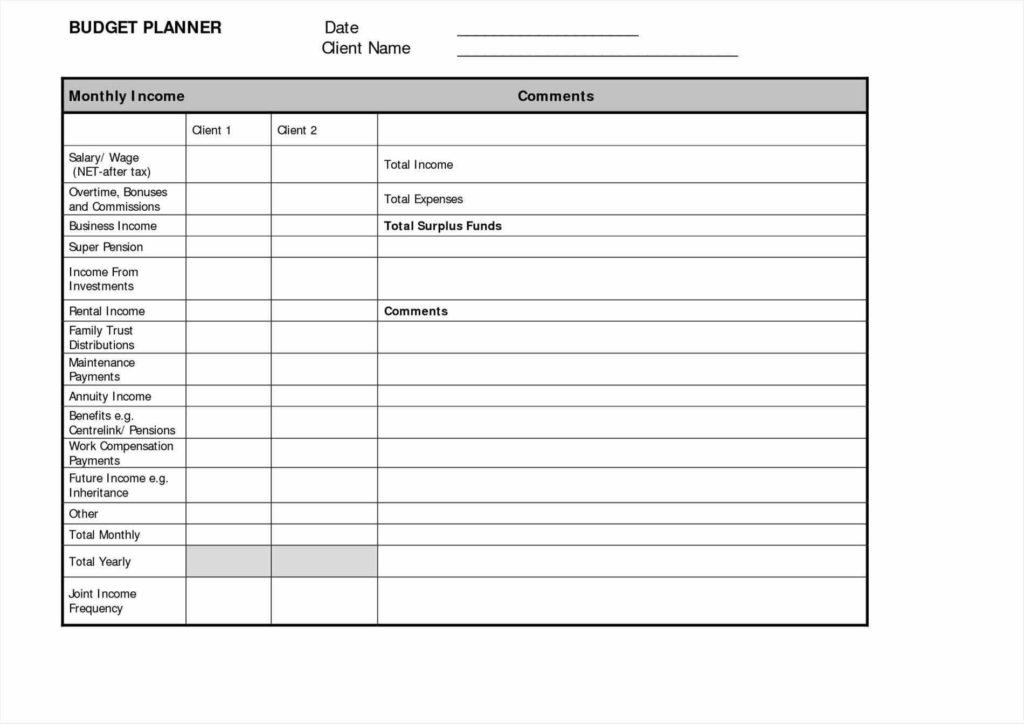 Financial Planning Spreadsheet and Financial Planning Templates Contegri