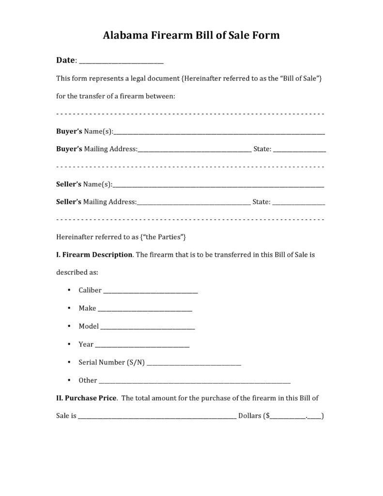 Firearm Bill Of Sale Template and Free Alabama Firearm Bill Of Sale form Pdf Docx