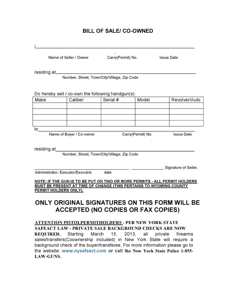 Firearms Bill Of Sale Template and Free New York Firearms Bill Of Sale form Pdf Docx