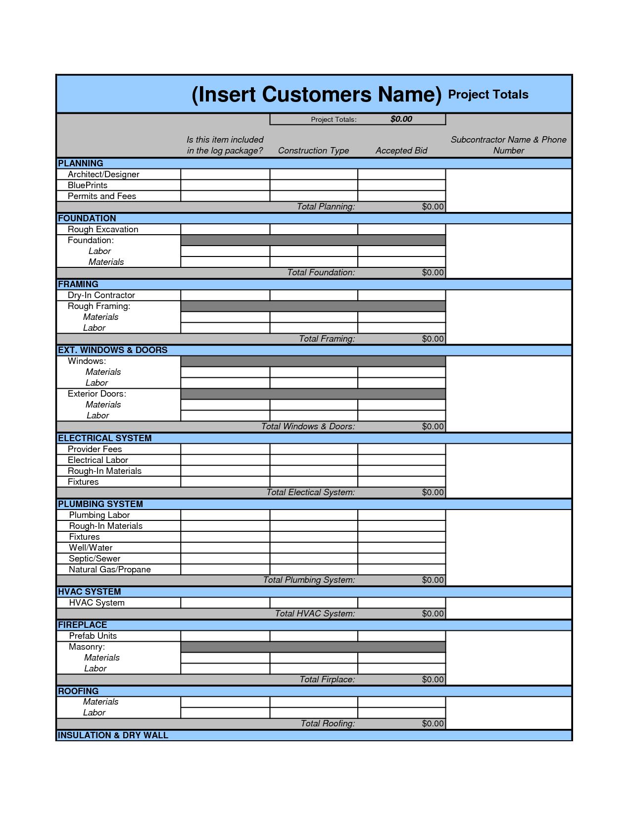 Flooring Estimate Template and Cost Estimate Worksheet Template