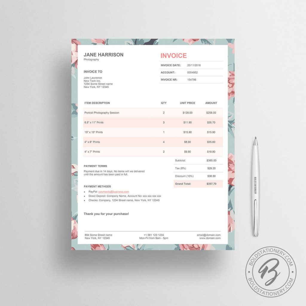 Florist Invoice Template and Invoice Template 02 Receipt Template Invoice Template for
