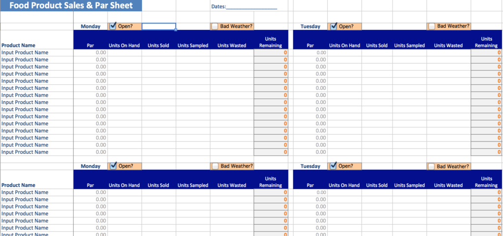Food Cost Analysis Spreadsheet and Small Food Business Food Business tools