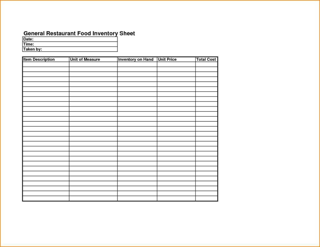 Food Inventory Spreadsheet and Food Cost Inventory Spreadsheet Laobingkaisuo