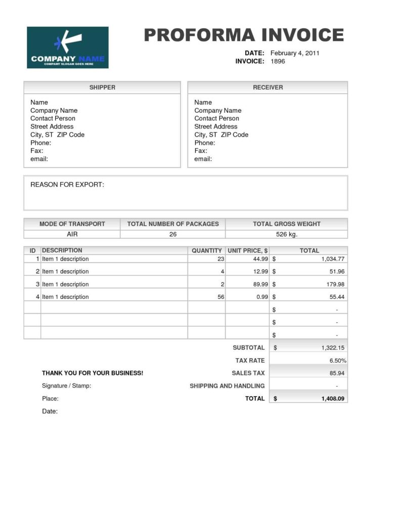 Free Download Of Invoice Template and Proforma Invoice format for Export Robinhobbsfo