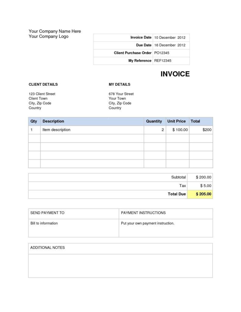 Free Downloadable Invoice Template and Invoice Template Word 2007 Residers Firmsinjafo