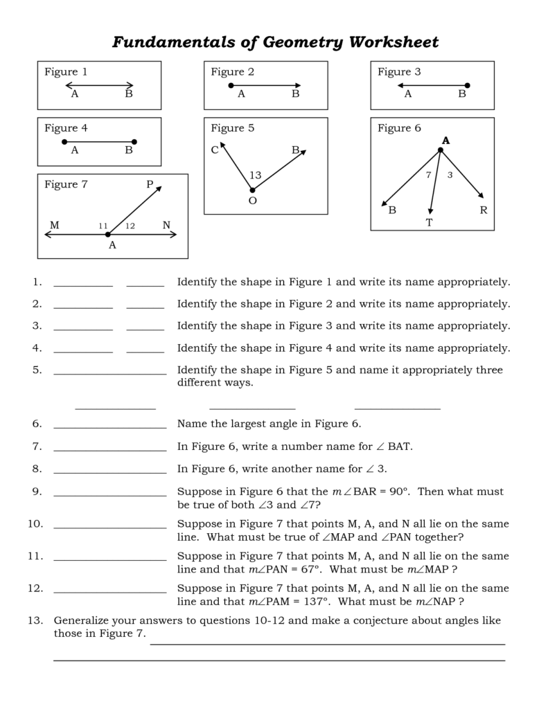 Free Geometry Worksheets for High School and Pictures On Free High School Worksheets Printables Easy