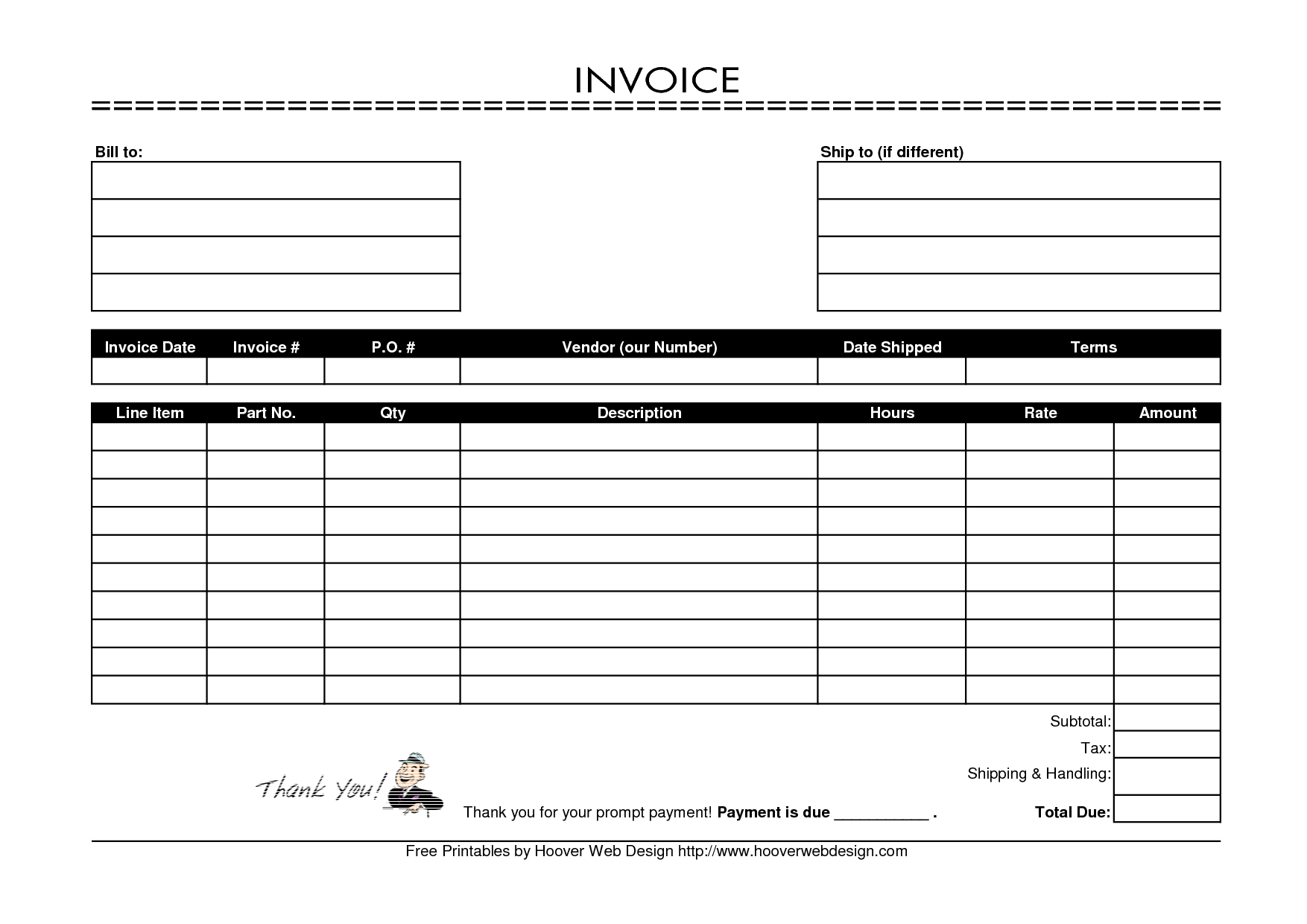 Mock Invoice Template