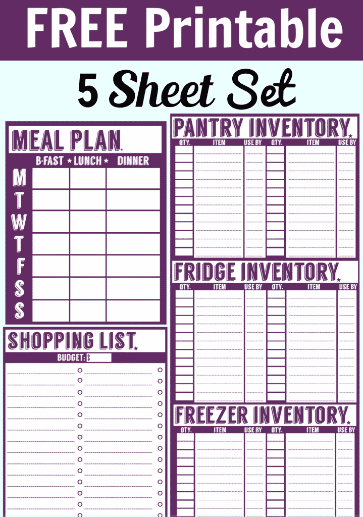 Free Inventory Tracking Spreadsheet and Free Printable Menu Planner Shopping List Inventory Sheets