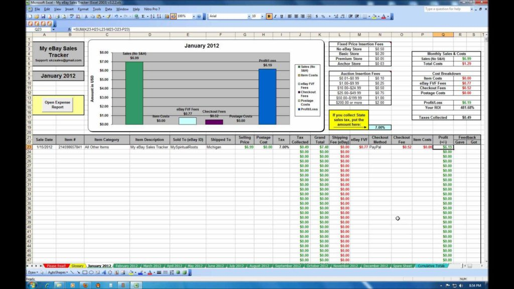 Free Inventory Tracking Spreadsheet and My Ebay Sales Tracker Spreadsheet Youtube