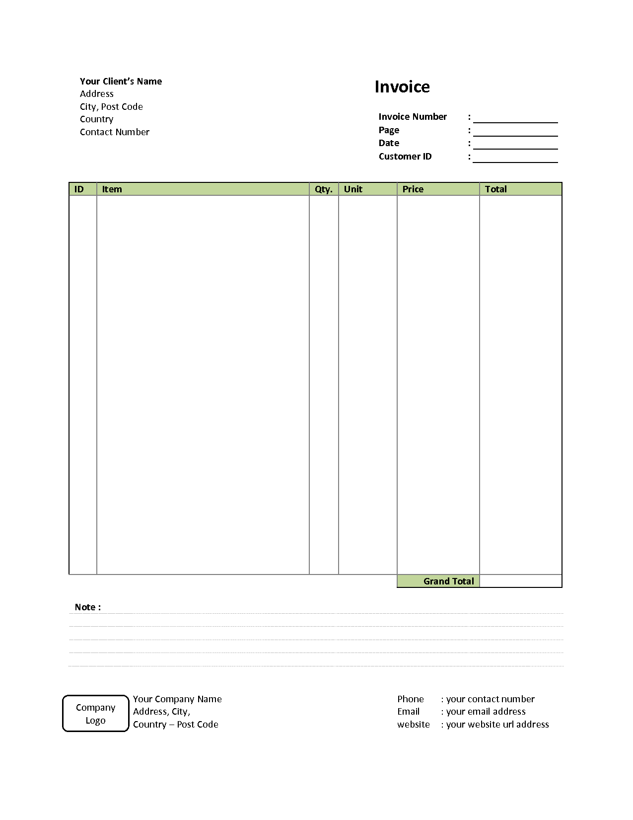 Free Invoice Template with Logo and Simple Invoice Template Free to Do List