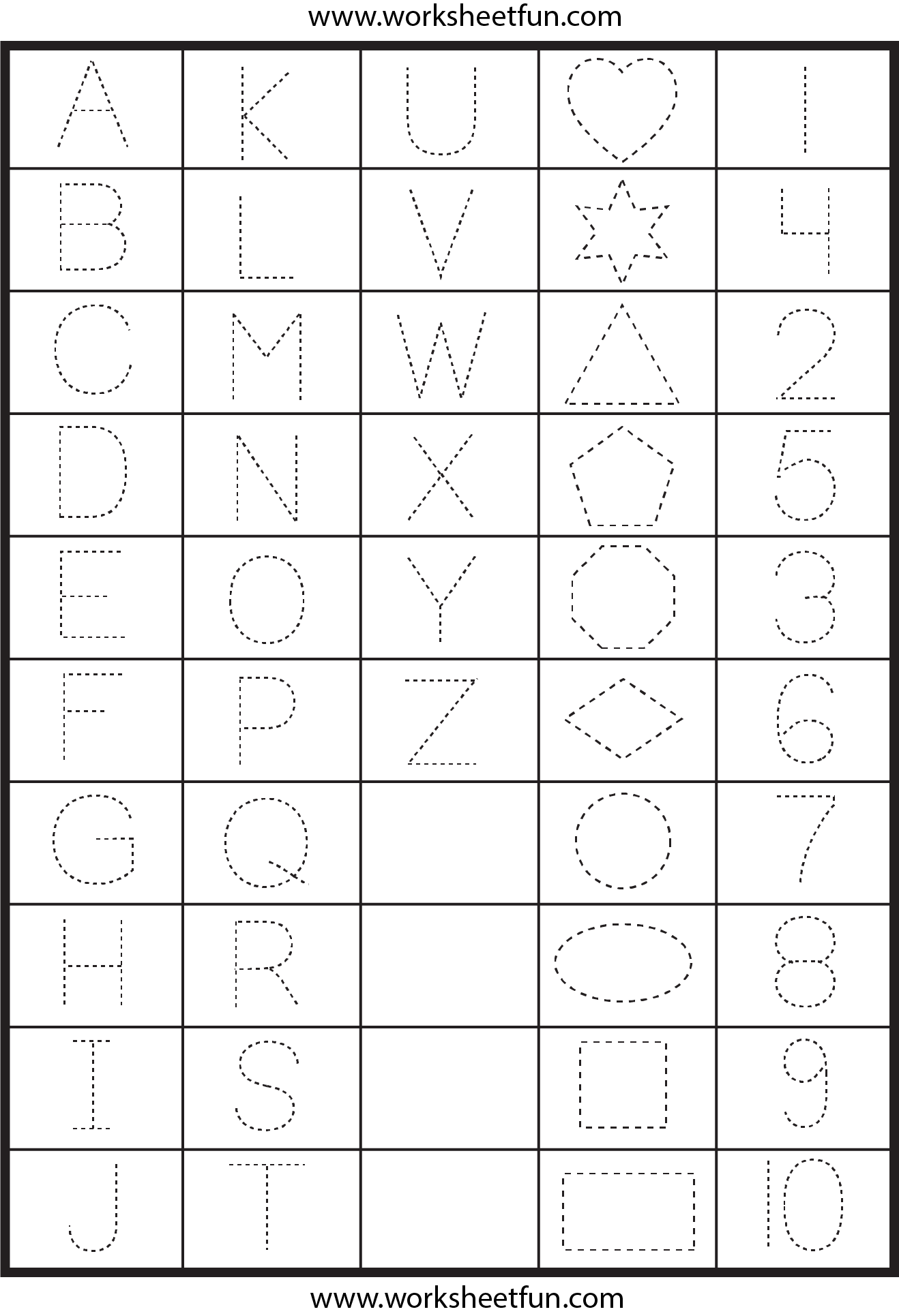 Free Life Skills Worksheets and Letters Numbers and Shapes Tracing Worksheets Free Printable