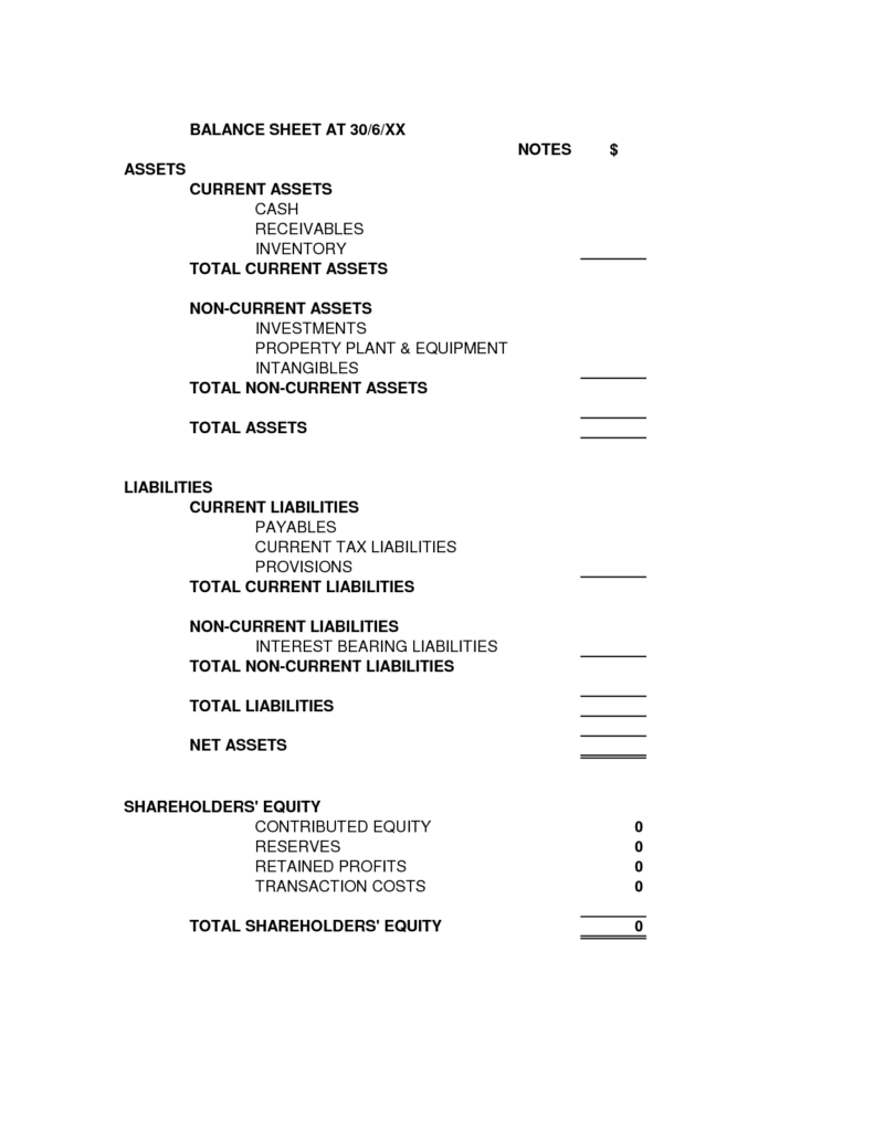 Free Personal Balance Sheet Template and Blank Balance Sheet Template Selimtd