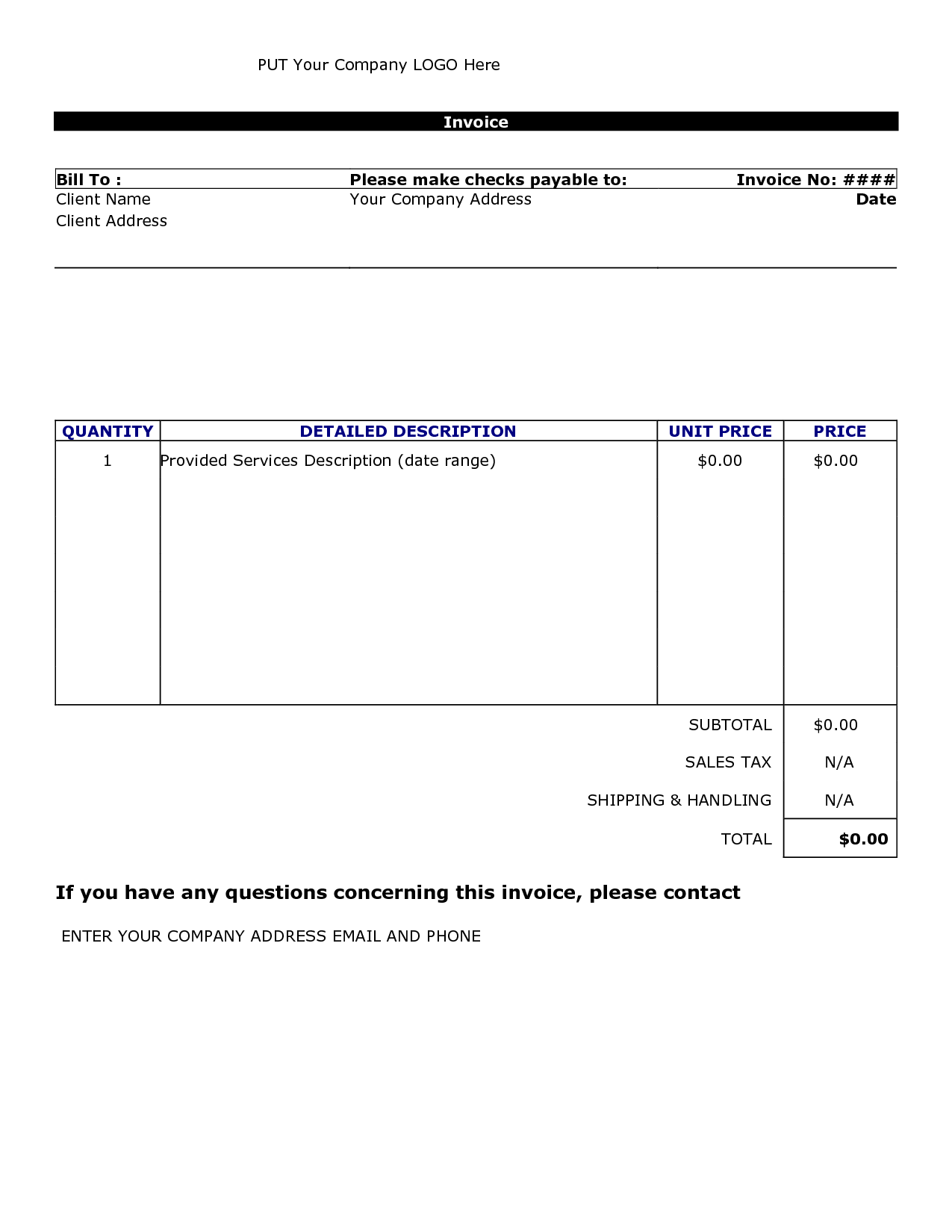 Free Printable Invoice Templates Word and Billing Invoice Template Word Invoice Example