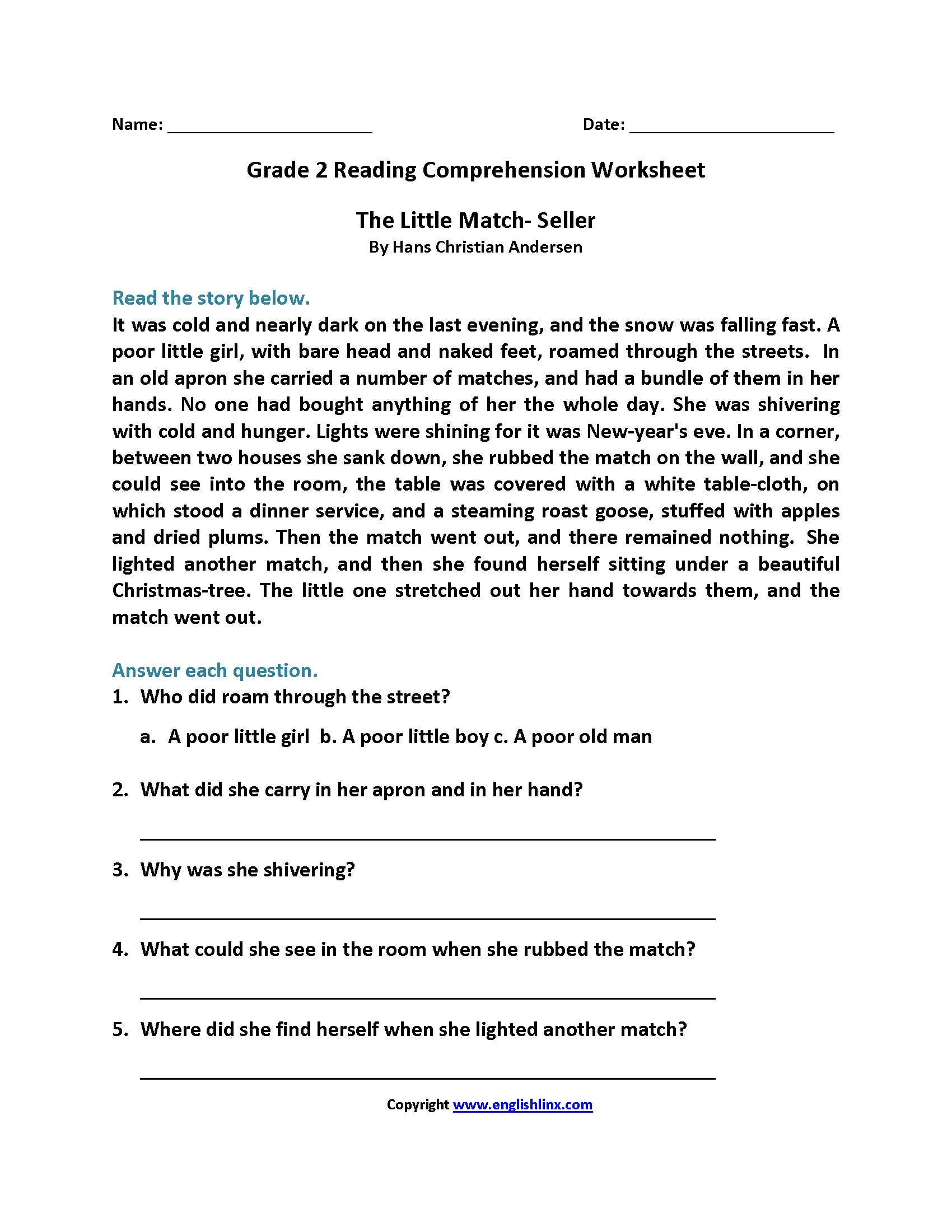Free Printable Second Grade Reading Comprehension Worksheets and Reading Worksheets Second Grade Reading Worksheets