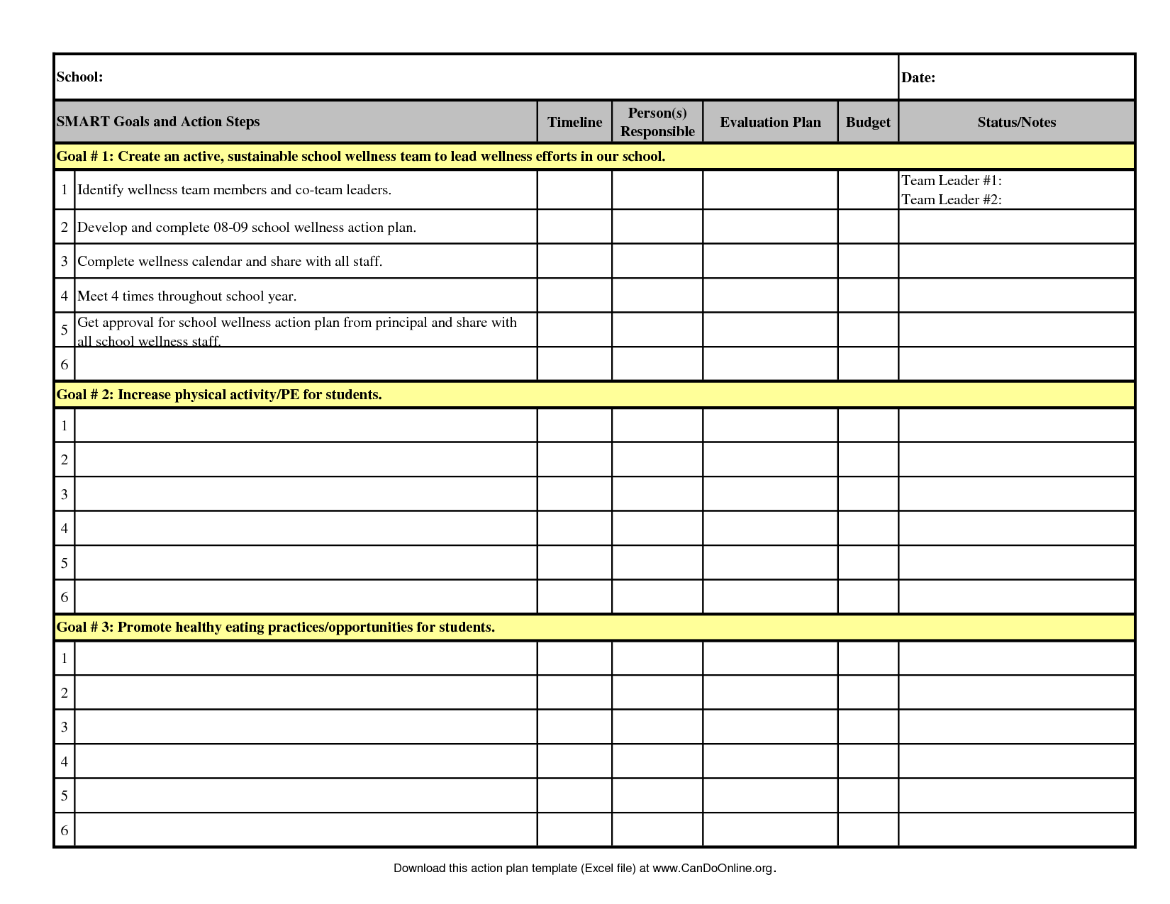 Free Project Schedule Template Excel and Action Plan Template 2008 09 Excel T68noboj Vision Goals