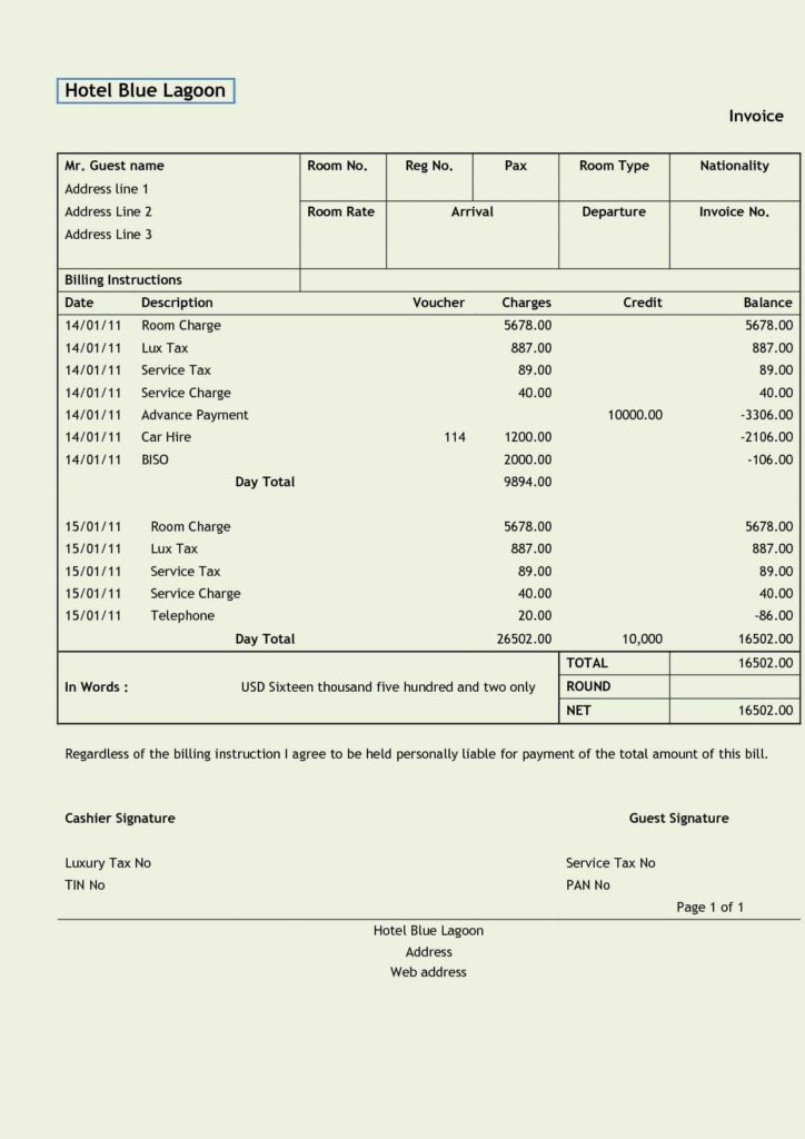 Free Sample Of Invoice and Free Hotel Invoice Template Uk Rabitah