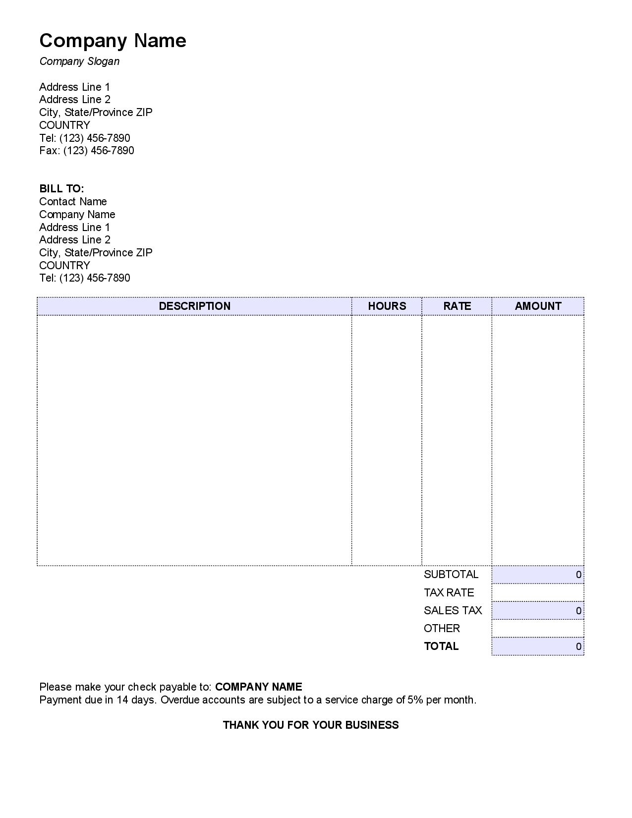 Free Small Business Invoice Template and Invoices for Small Business Resume Templates