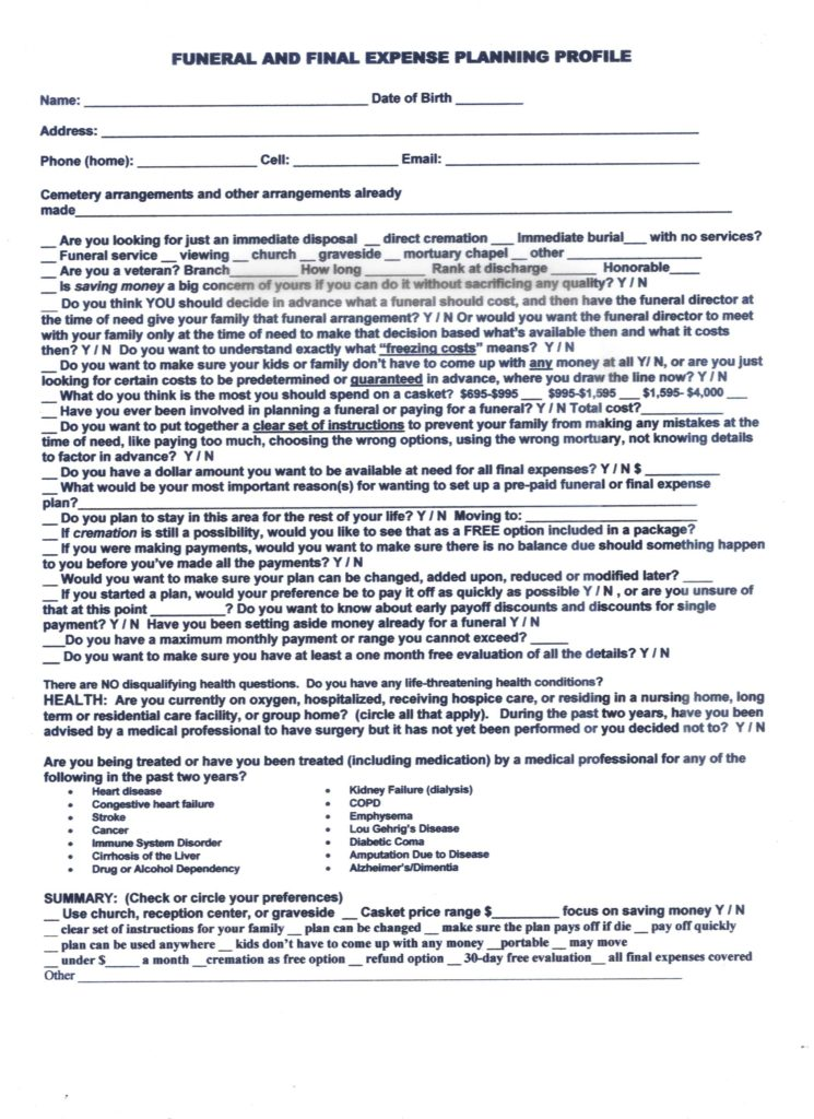 Funeral Pre Planning Worksheet and Funeral Services Cremation Funeral Planning Utah