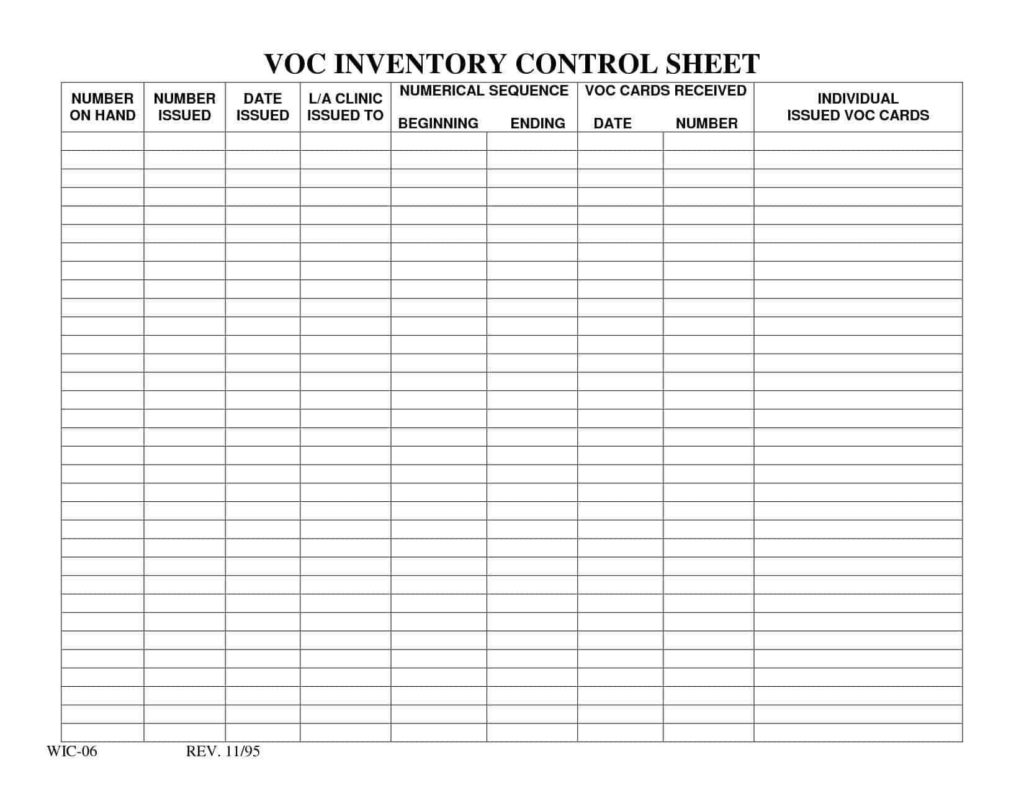 Furniture Inventory Spreadsheet and Inventory Control Spreadsheet Template