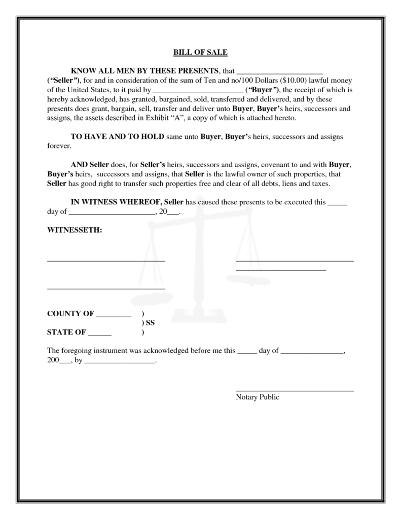 General Bill Of Sale Template and Free Printable General Bill Of Sale form and Text Template