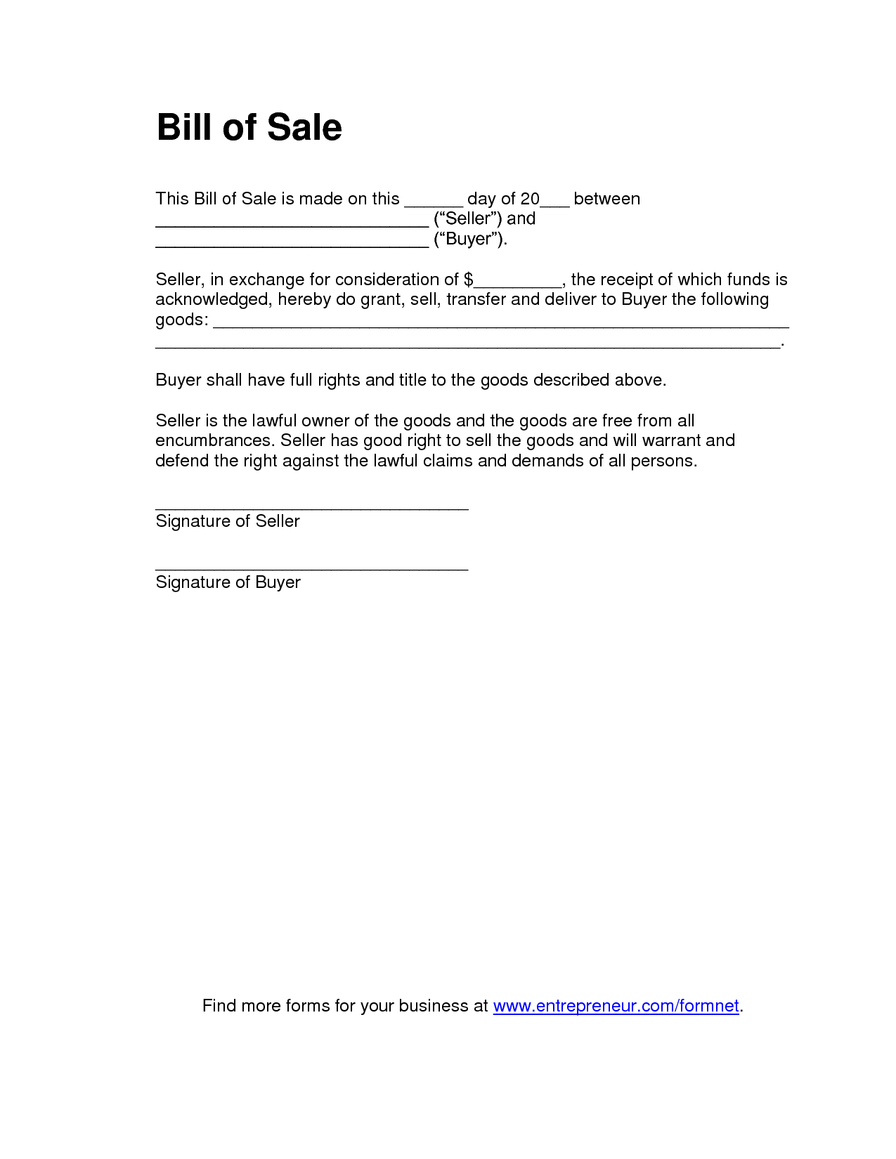 General Bill Of Sale Template and Printable Sample Tractor Bill Of Sale form Laywers Template