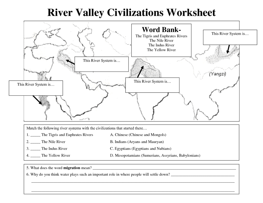 Grade 4 History Worksheets south Africa and Early Civilizations Worksheet River Valley Civilizations