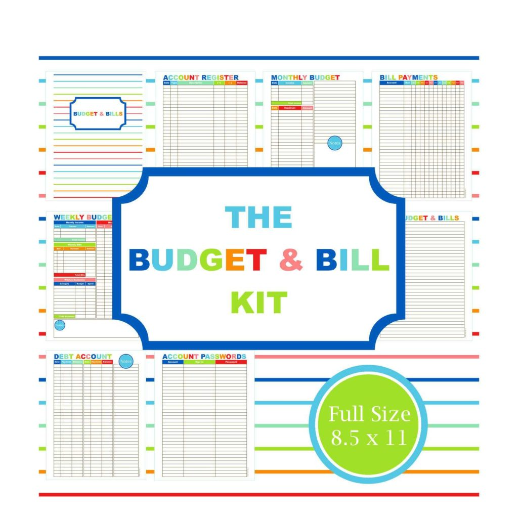 Home Finance Bill organizer Template and the Bud Bill Kit Bud Planner Printable Bud Bill