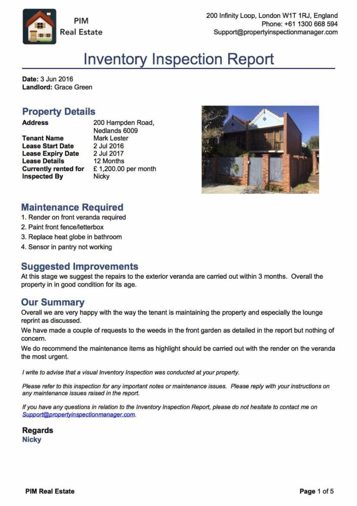 Home Inspection Report Template and Property Inspection Manager