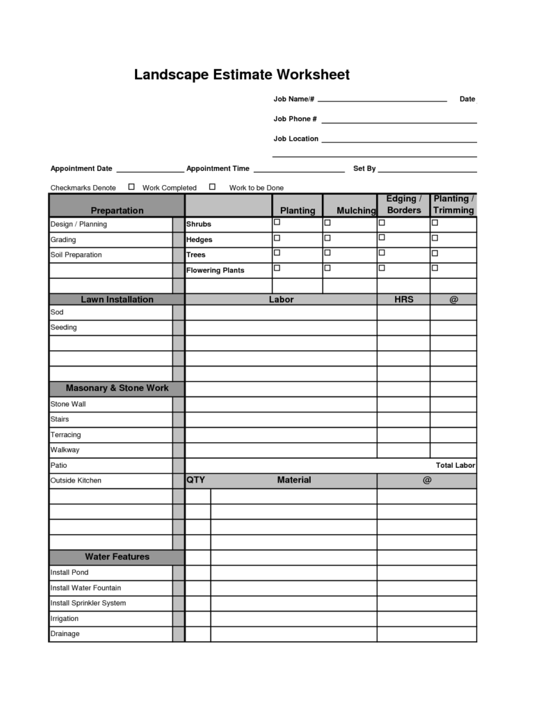 Home Remodeling Cost Estimate Template and Printable Landscape Bid Templates Template for Landscape Bid