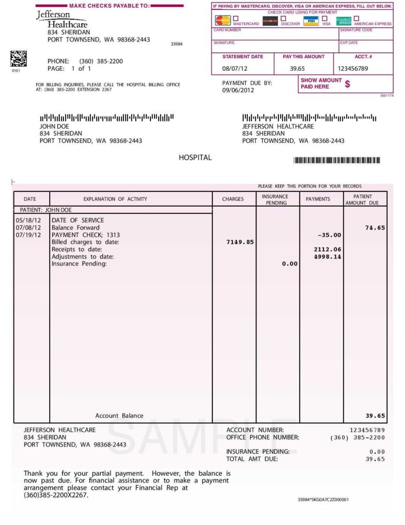 Hospital Invoice Sample and Invoice Template Payment Terms Free Printable Invoice Sample