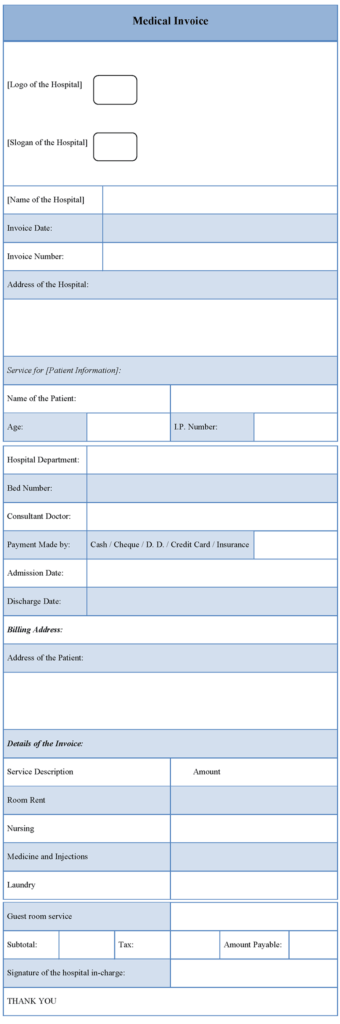 Hospital Invoice Template and Hospital Invoice Template Word Rabitah