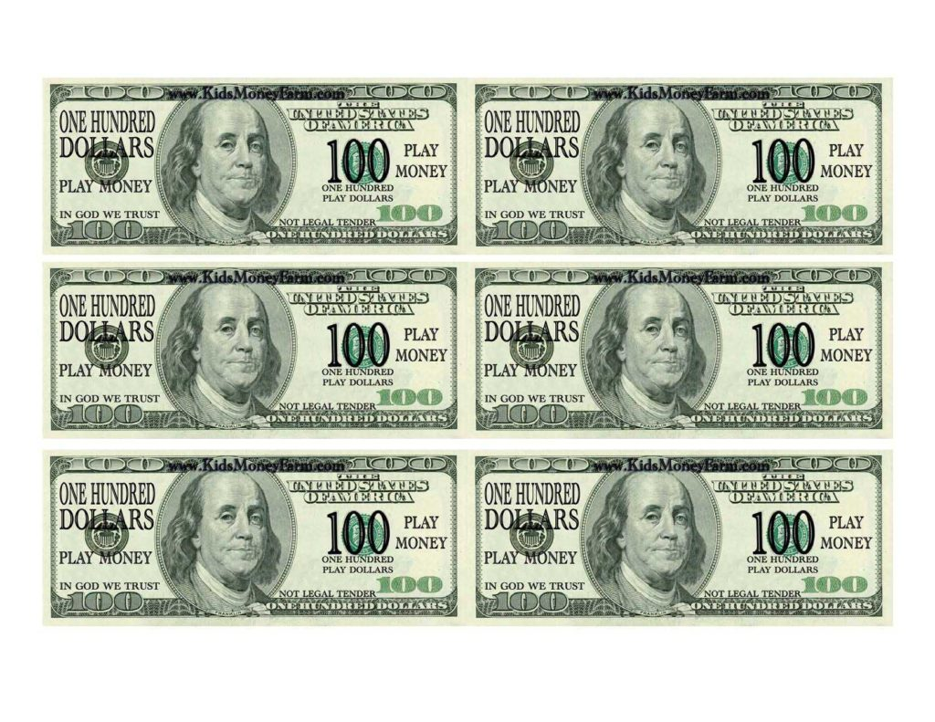 Hundred Dollar Bill Template and 100 Bill Template Virtren