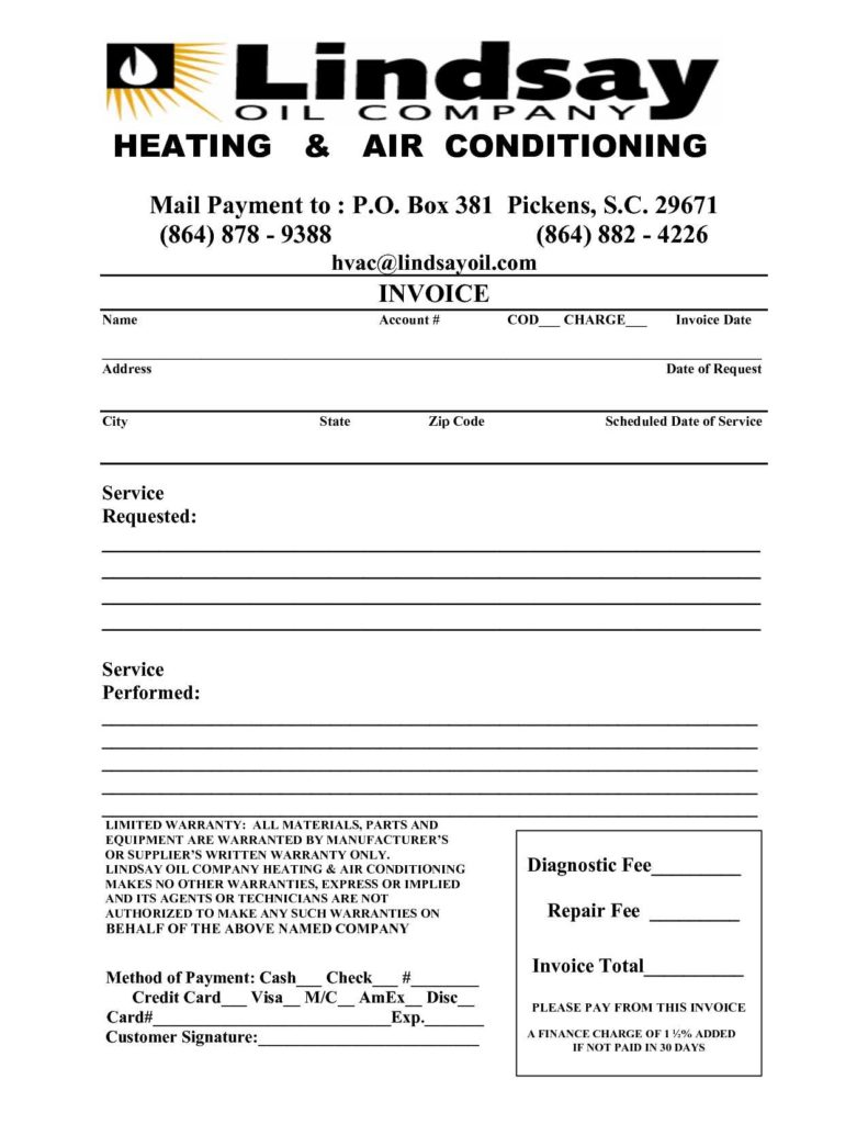 Hvac Service Report Template and 6 Best Images Of Hvac Invoice Template Hvac Service order In
