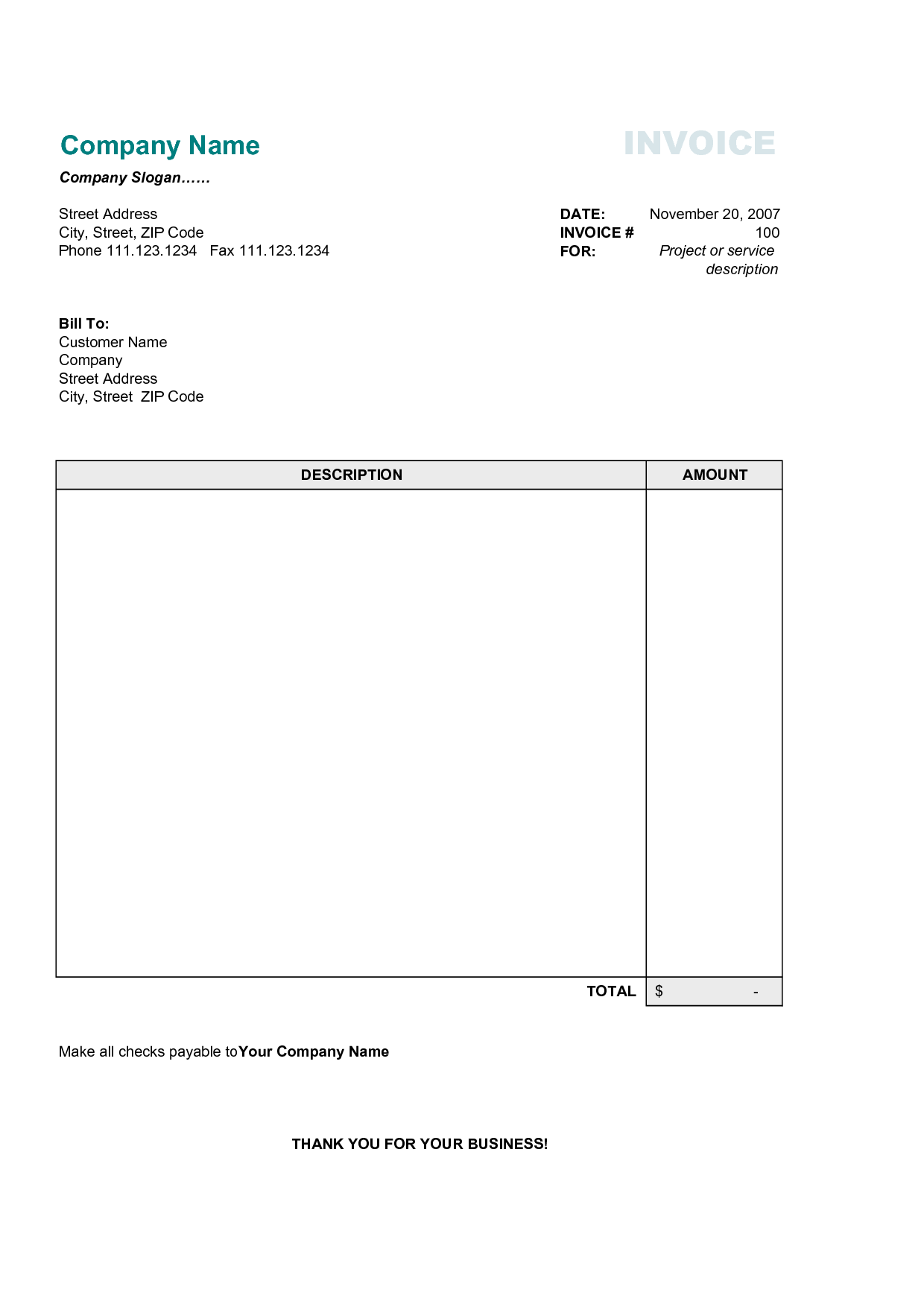 Image Of Invoice Template and Basic Invoice Template Free Invoice Example