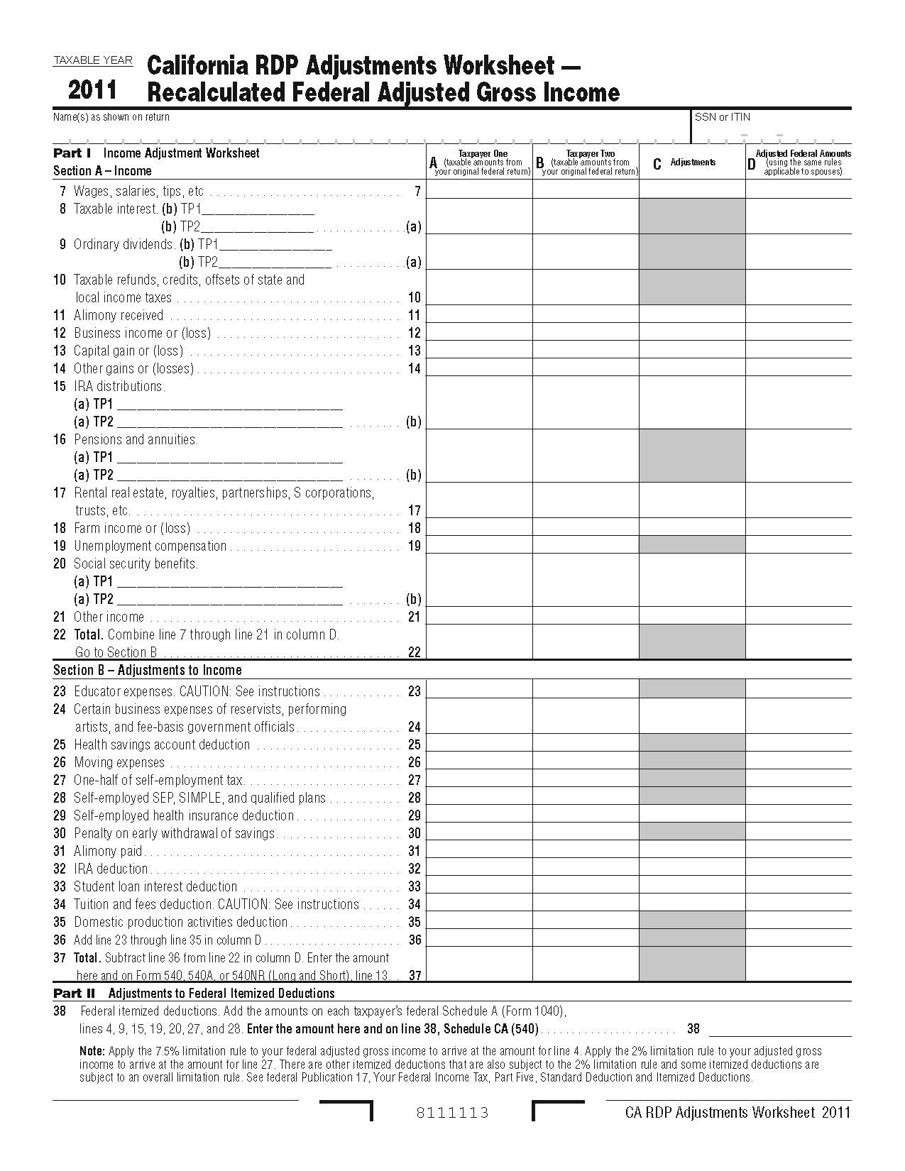 Income Tax Worksheet and 737 Worksheet form California Registered Domestic Partners