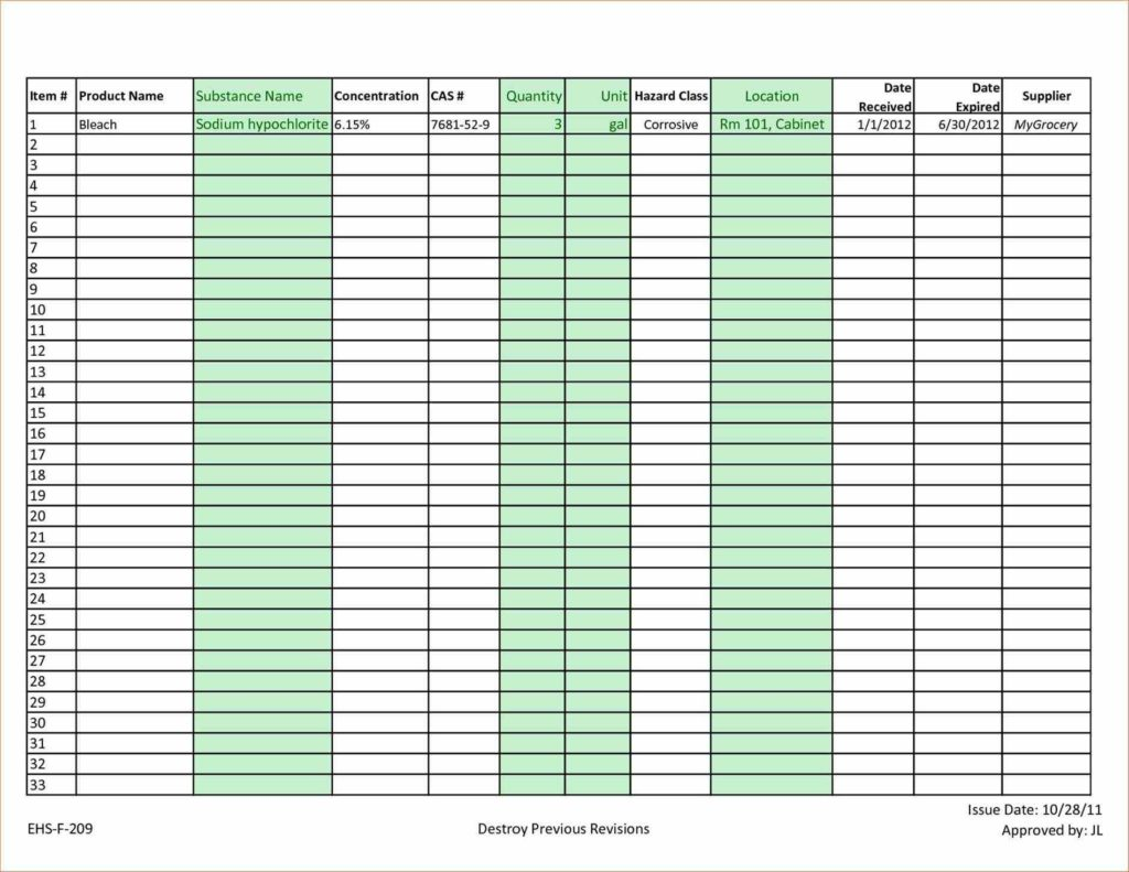 Invoice Record Keeping Template and Images Doc List Example Examples Free Doc Chemical Inventory
