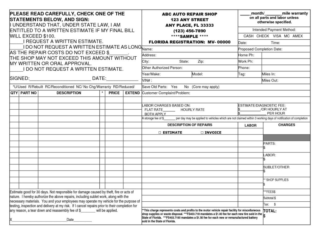 Invoice Sample In Word and 14 Best Photos Of Auto Repair Invoice Template Printable Auto Body