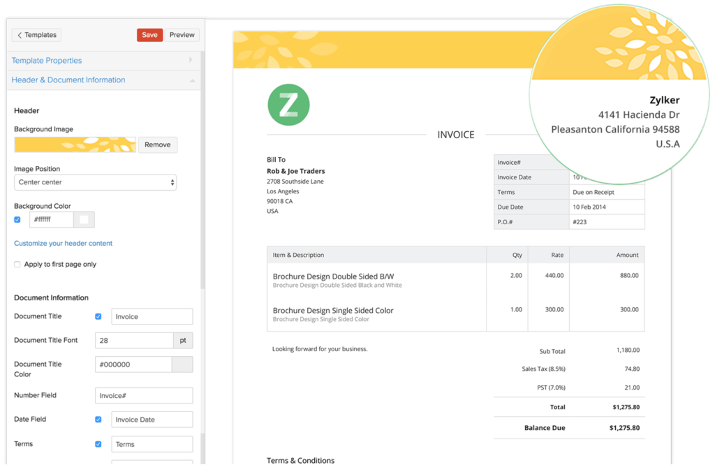 Invoice Template Canada and Invoice Templates From Zoho Invoicestomise Your Invoices