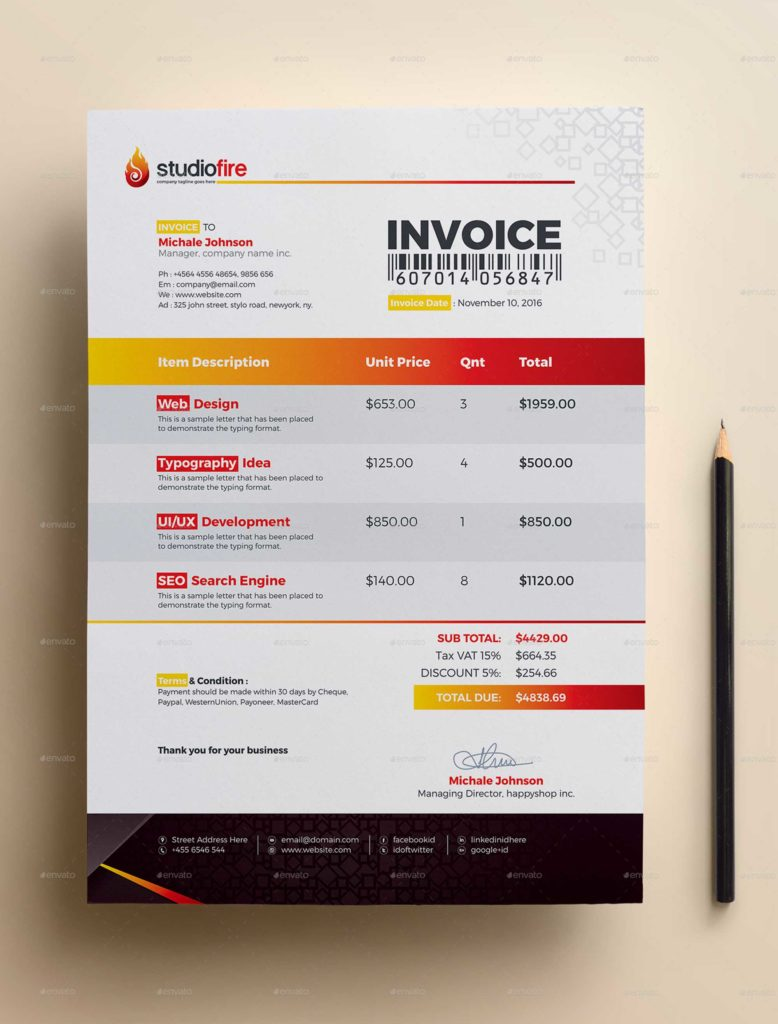 Invoice Template for Designers and Invoice Template by Contestdesign Graphicriver