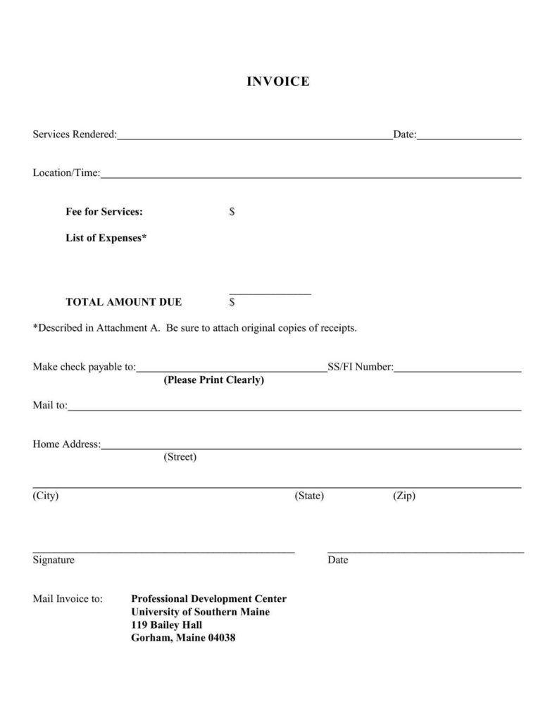 Invoice Template for Services Rendered and Sample Invoice for Services Rendered Invoice Template Ideas