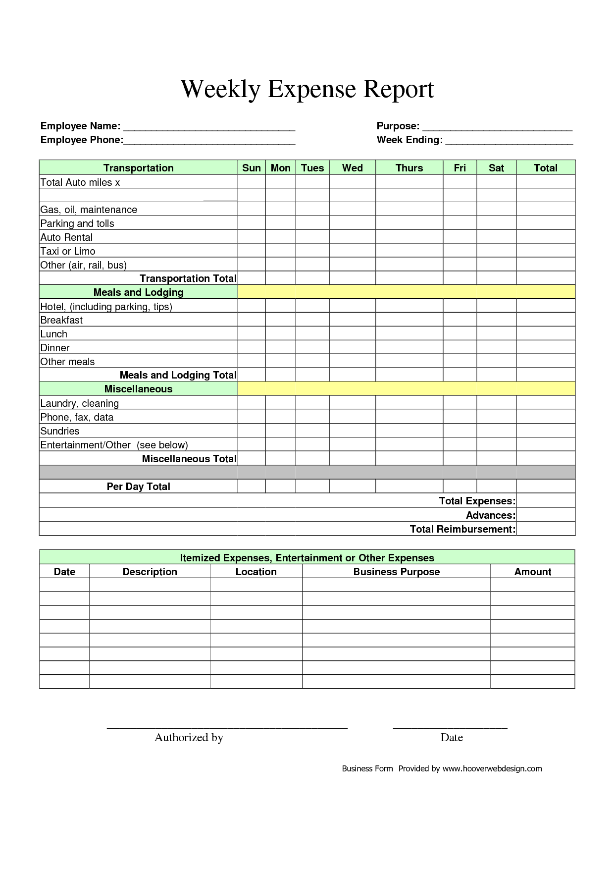 Itemized Expense Report Template and Blank Expense Report Helloalive