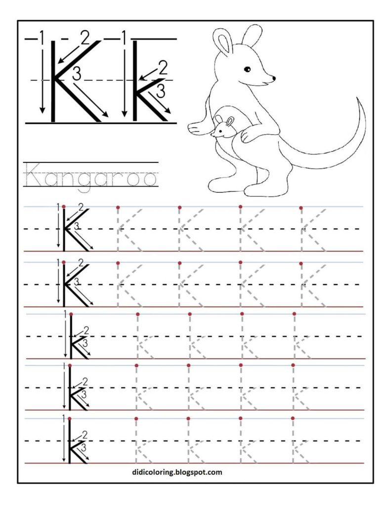 Learn to Write Kindergarten Worksheets and Free Printable Worksheet Letter K for Your Child to Learn and