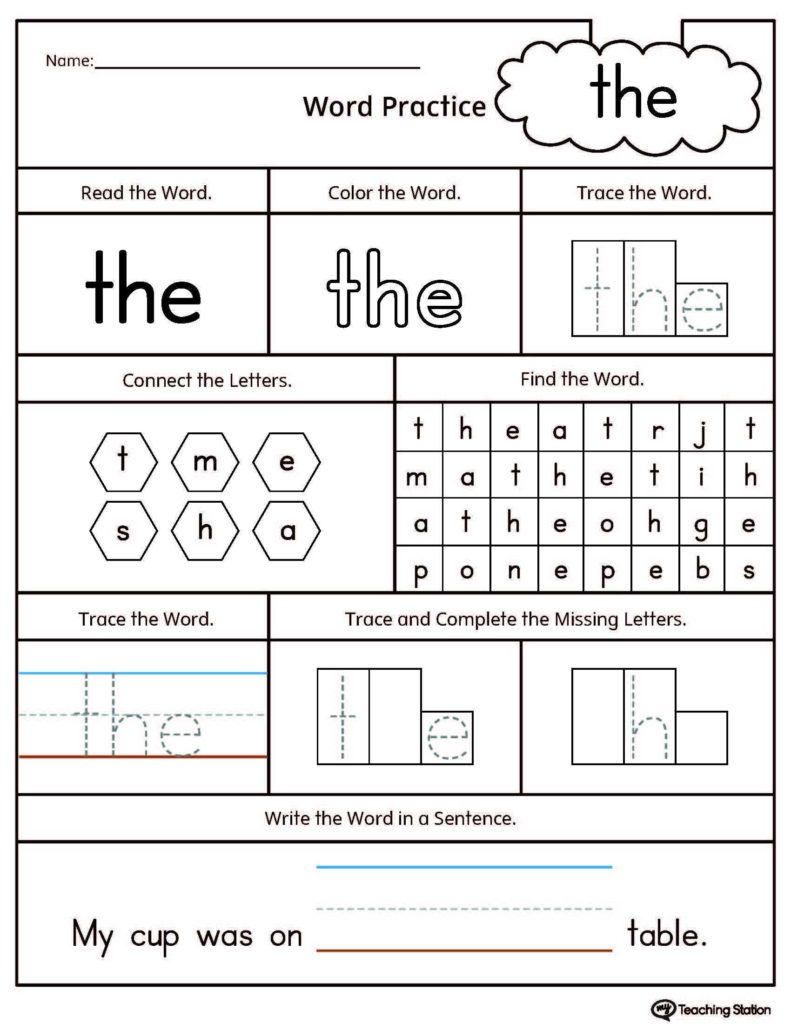 Learning to Read Worksheets Kindergarten and Sight Word the Printable Worksheet Printable Worksheets