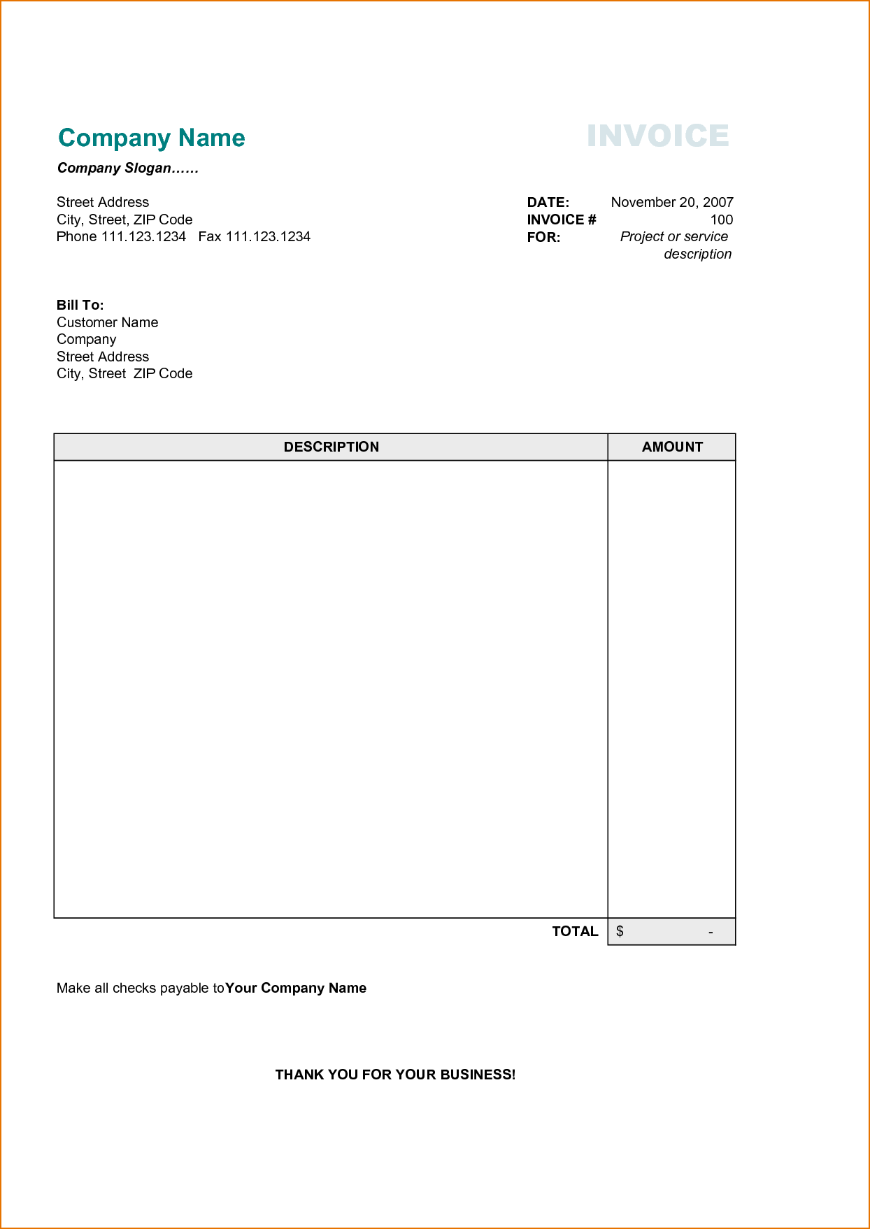 Lease Invoice Template and 4 Free Printable Invoice Template Printable Receipt