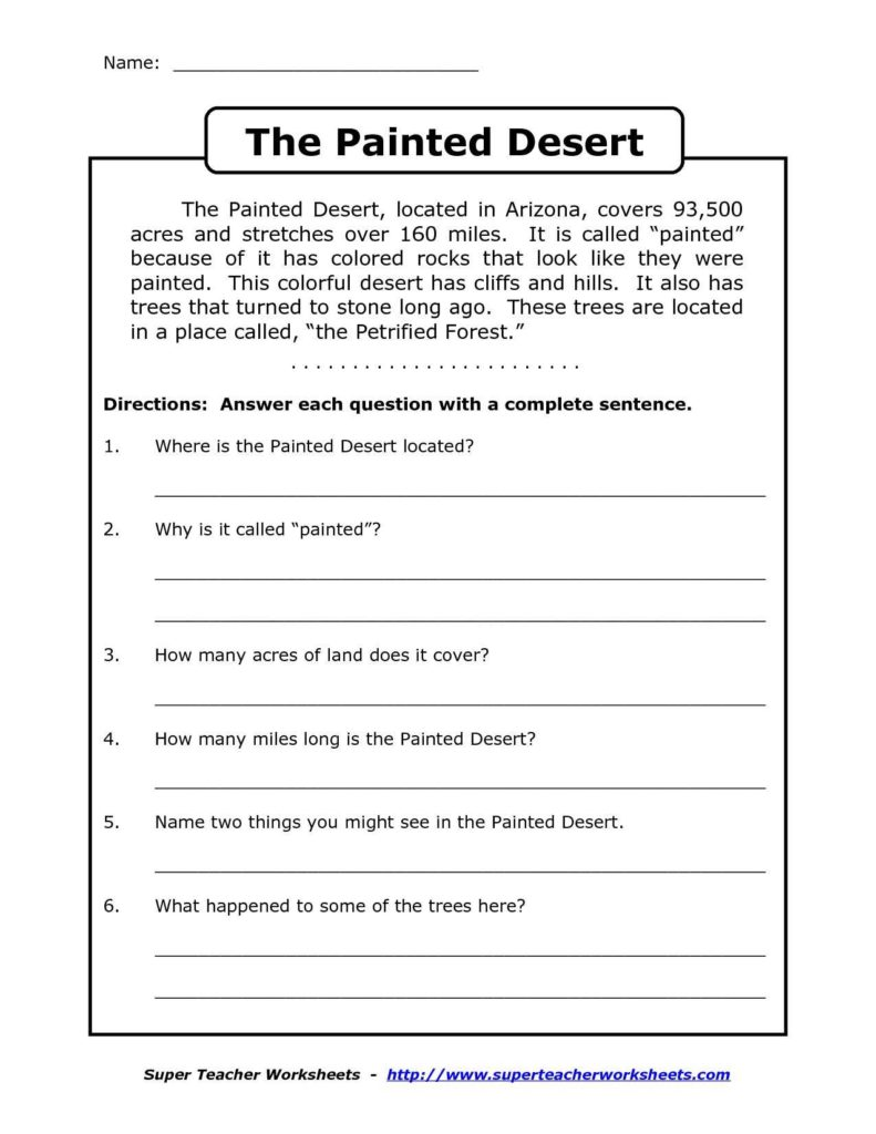 Level 4 Reading Comprehension Worksheets and Prehension Worksheet for 1st Grade Y2 P3 the Painted Desert